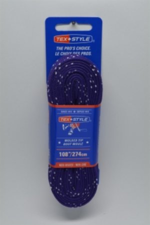 """Cotton laces with """"double"""" black stripe 108"""" in Purple (Package of 12 pairs)"""