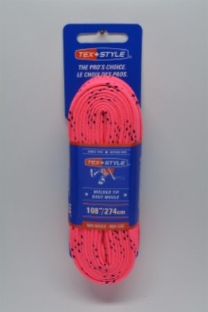 """Pink- Cotton laces with """"double"""" black stripe 108"""" in Pink (Package of 12 pairs)"""