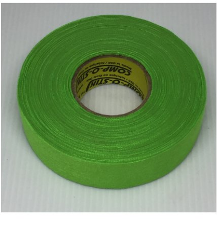 Pack of 6 Coloured Cloth Tape (24mm x 25m) - Neon Green