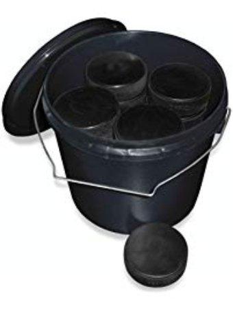 Bucket of 24 regulation pucks