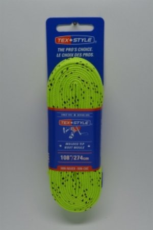 """Cotton laces with """"double"""" black stripe 108"""" in Lime Green (Package of 12 pairs)"""