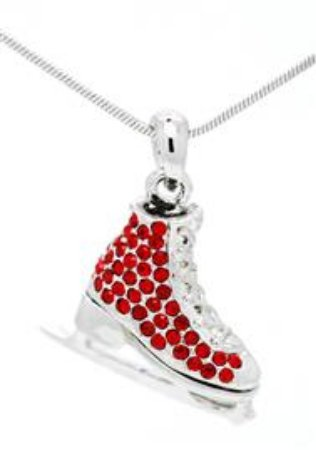Skate Crystal/Enamel Pendant with Chain - Red
