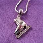 Mini Silver Skate Pendant with Chain