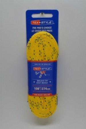 """Cotton laces with """"double"""" black stripe 108"""" in Yellow (Package of 12 pairs)"""