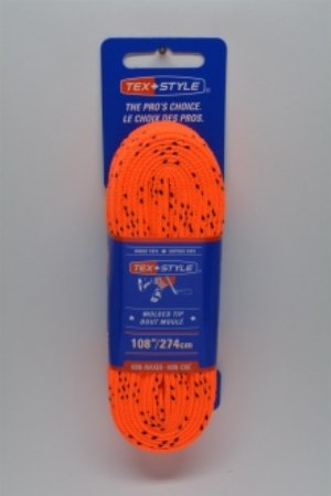 """Cotton laces with """"double"""" black stripe 108"""" in Orange (Package of 12 pairs)"""