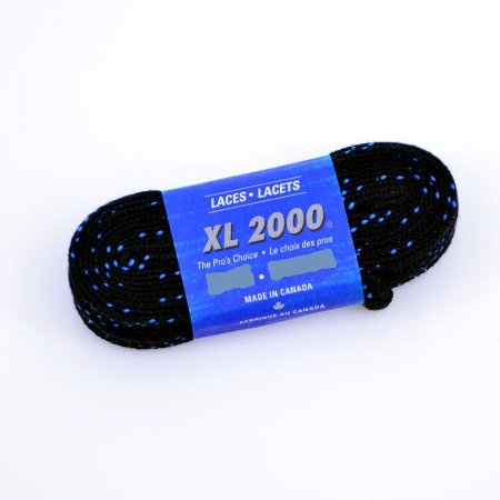 """Black spun polyester with """"double"""" blue stripe 120"""" (Package of 24 pairs)"""